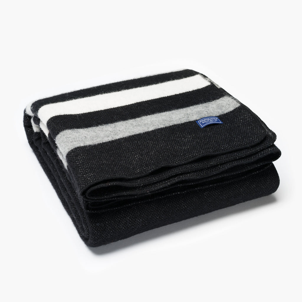 Revival Stripe Wool Throw Black and Heather Grey