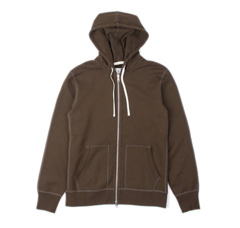 Full Zip Mid-Weight Hoodie Olive