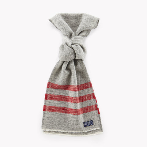 Trapper Wool Scarf Grey w/ Red Stripe