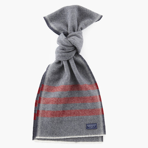 Trapper Wool Scarf Navy w/ Red Stripe