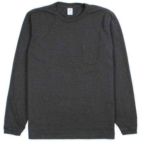 Long Sleeve Circular Knit Pocket Tee Black