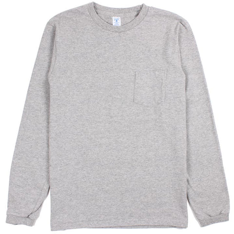 Long Sleeve Circular Knit Pocket Tee Heather Grey