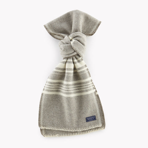 Weekender Stripe Wool Scarf Silver Heather and Bone