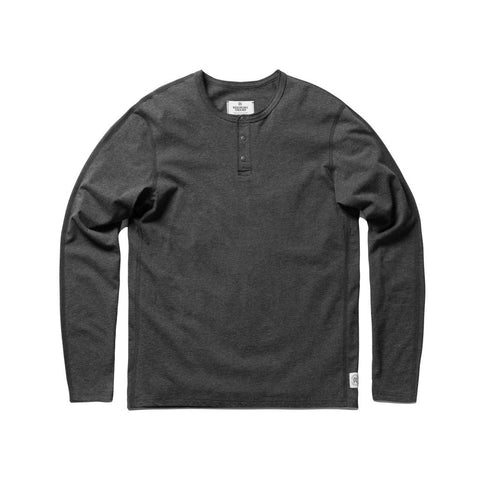 Ringspun Jersey Henley Heather Charcoal