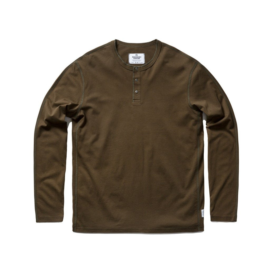 Ringspun Jersey Henley Olive