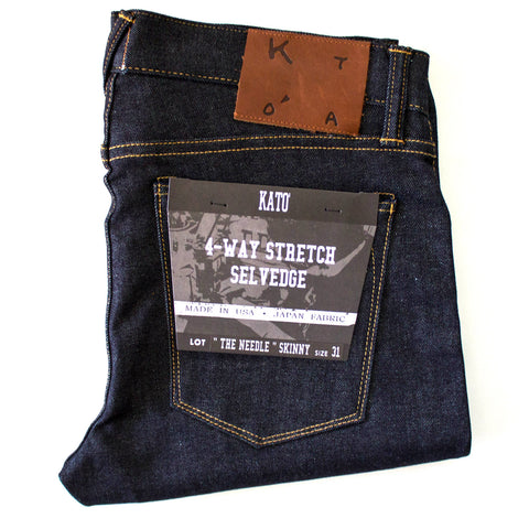 """The Needle"" Skinny 4-Way-Stretch Selvedge Raw Indigo"