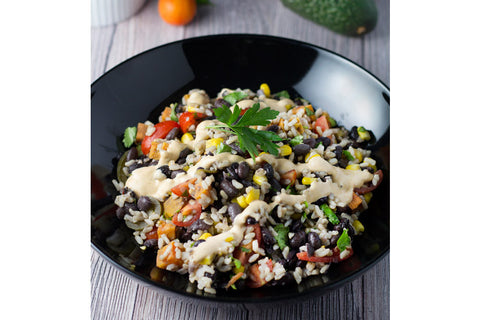 Burrito Bowl with Black Beans, Roasted Sweet Potatoes, Corn and Cashew Queso