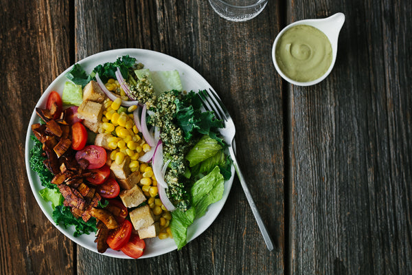 Cobb Salad with Blue 'Cheese', Coconut Bacon, Tofu, Kale and Avocado Vinaigrette