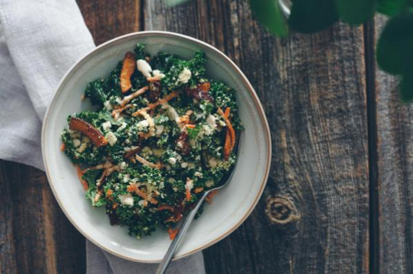 Kale Caesar Salad with Hemp Seed-Cashew Parm and Coconut 'Bacon'