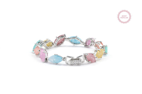 Pastel Spring Leaves Statement Bracelet