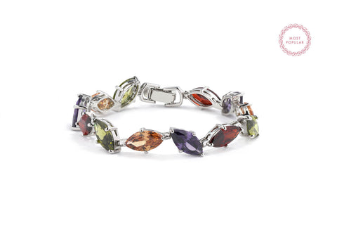 Crystal Spring Leaves Statement Bracelet