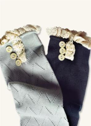 Buttons & Lace Pointelle Boot Socks