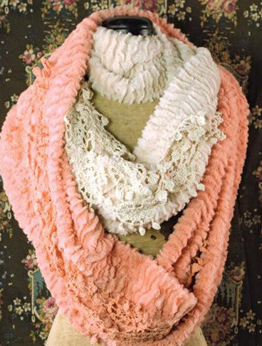 Plush Infinity Scarf w/Lace - Bear Essentials Interiors