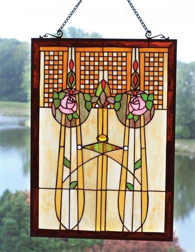 Enchanted Rose Stained Glass Panel - Bear Essentials Interiors