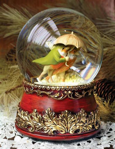 Lovebirds In A Snowstorm Snowglobe - Bear Essentials Interiors