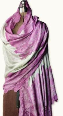Mauve Lace on Smoke Casmere Wrap - Bear Essentials Interiors