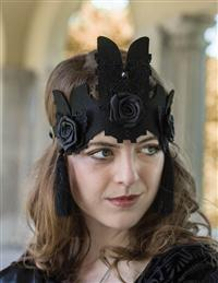 Black Rose and Ribbon Crown
