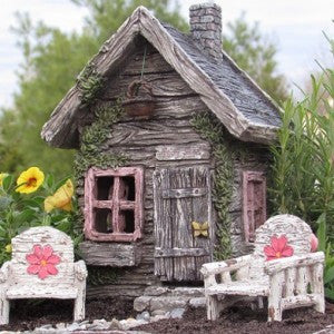 Fairy Shed w/ Basket and Swinging Door
