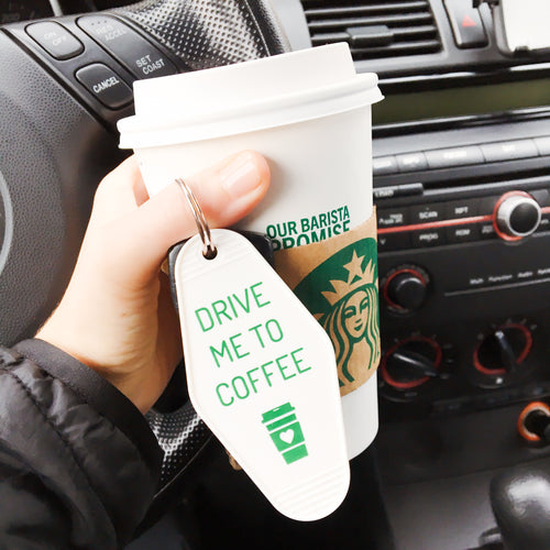 drive me to coffee | key tag (white)