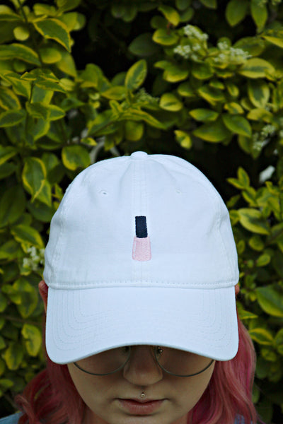 nail polish | white | dad hat