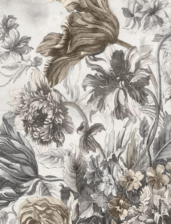 Bohemian Blossoms I is a print by Jackie Von Tobel with light gray and pale brown flowers swirling and delicately rendered.