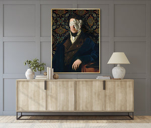 See No Evil by Jackie Von Tobel is a print of a gentleman whose vision is obscured by an artfully tied bow made of satin hanging above a modern credenza.