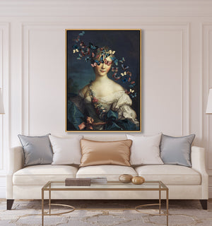 Madame Butterfly by Jackie Von Tobel is a print of a young aristocrat whose vision is obscured by a kaleidoscope of butterflies, in a room setting hanging above a lovely modern white sofa.