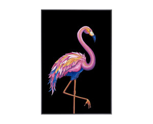 Flamingo I is a print by Jackie Von Tobel with a prowling bird on a black background in bright pink, blue, and pale orange hues that was created for LeftBank Art where Jackie is a bestselling artist.