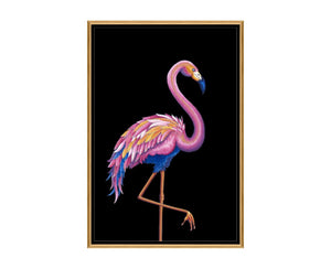 Flamingo I is a print by Jackie Von Tobel with a prowling bird on a black background in bright pink, blue, and pale orange hues.