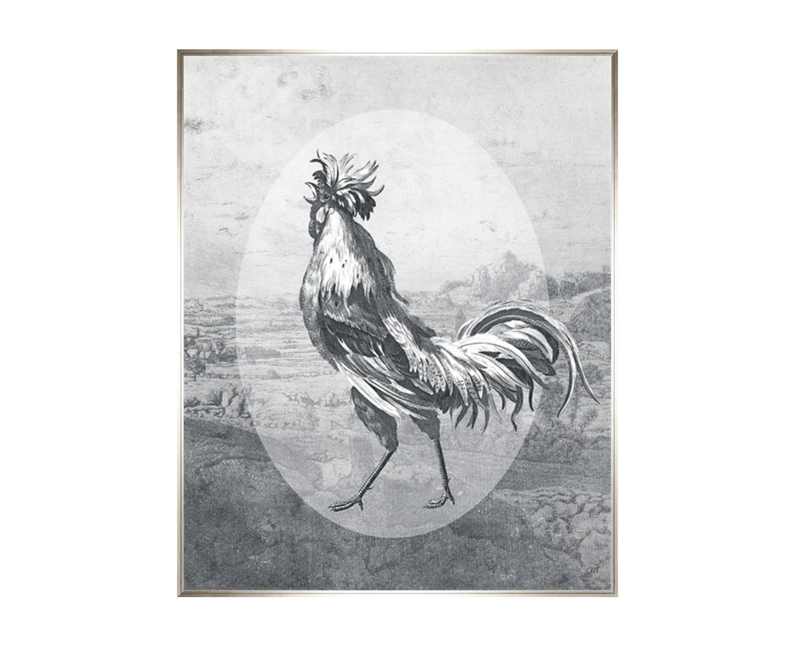 Fowl Play II, a print by Jackie Von Tobel, has a strutting rooster front and center in myriad shades of gray to look like an etching, a piece of wall art framed in silver.