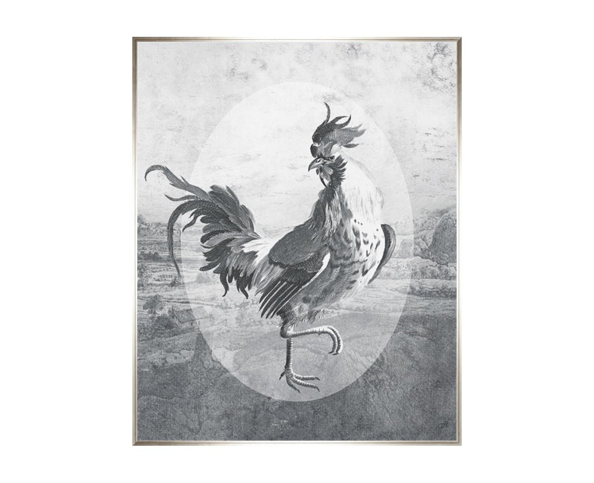 Fowl Play I, a print by Jackie Von Tobel, has a strutting rooster front and center in myriad shades of gray to look like an etching.