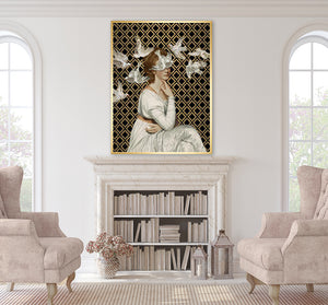 Love is Blind I in a modern living room setting illustrating how the print of the young woman in an ivory gown on a black and gold background is a powerful historical portrait with a contemporary twist.