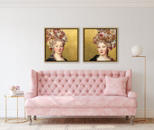 The Age of Innocence III and IV by Jackie Von Tobel, print of right- and left-facing young aristocrats with floral headdresses hanging above a lovely pink sofa.