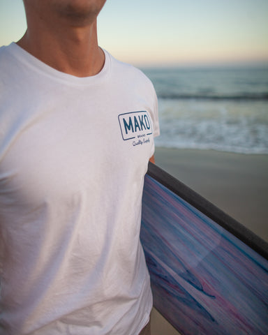 Mako Quality Supply Tee,  White.