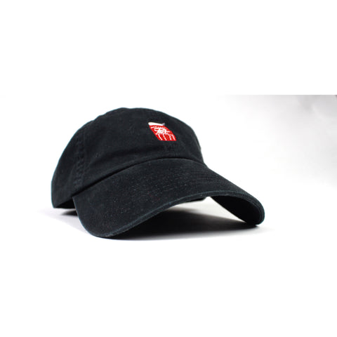 "Mens Streetwear PVT. PVT. ""Quarter Water"" - Dad Hat ""Red"" on Black"