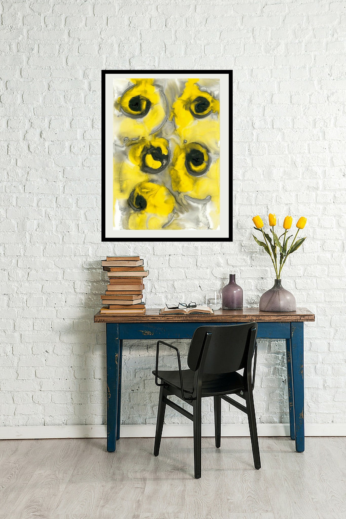Yellow and Black Original Acrylic Modern Contemporary Artwork Painting by London Based Artist Vera Blagev / Vera Vera On The Wall