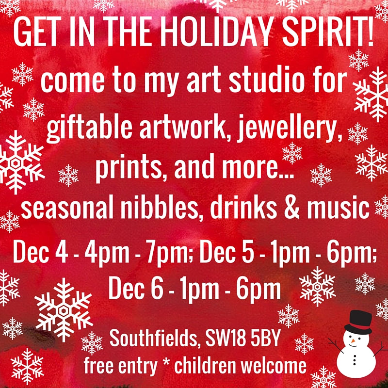 Christmas Open House Art Studio in Southfields - Art Jewellery Wall Art Prints and More
