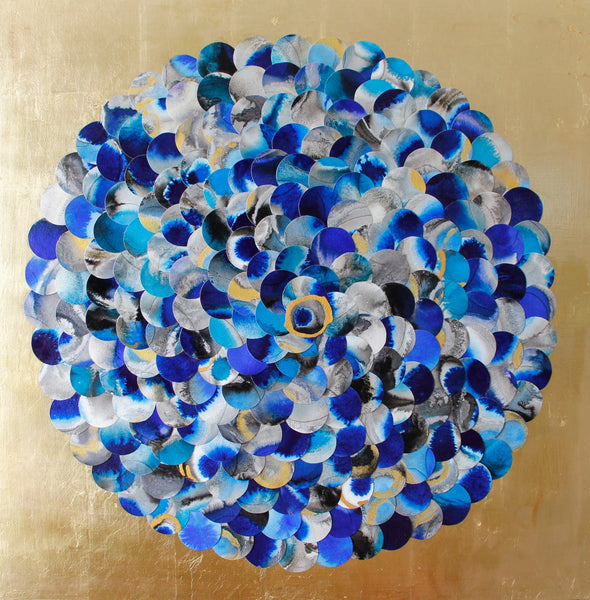 Original blue and gold abstract artwork by London Surrey England emerging artist Vera Blagev