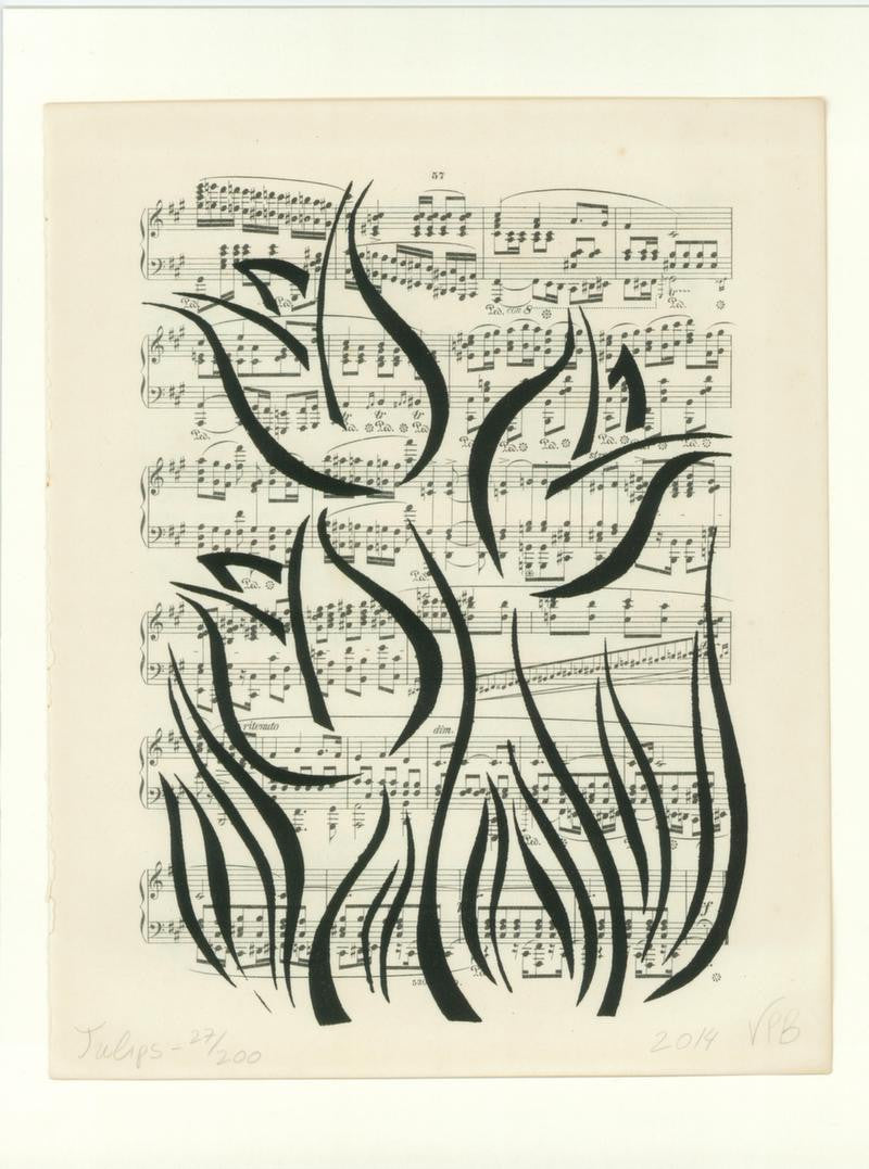 Unique stylish monochrome art nouveau artwork on vintage music sheet paper with nature and flowers / floral theme