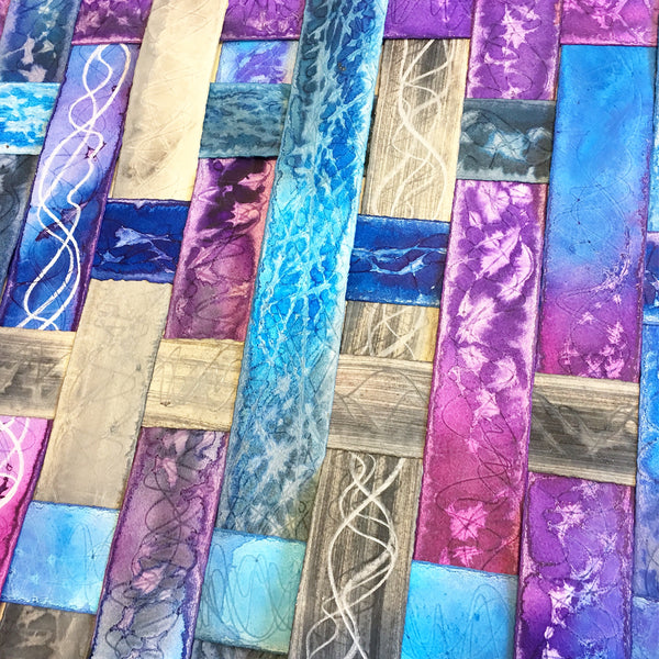 purple, blue and grey textured colourful original art by London abstract artist creating mixed media artwork