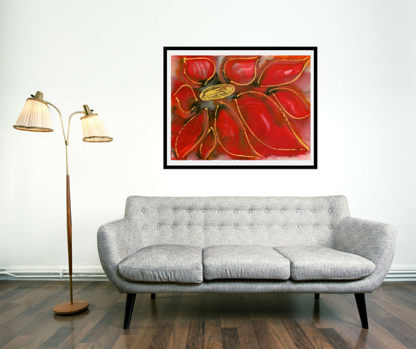 Original Floral Flower Colourful / Colorful Modern Contemporary Acrylic and Ink Painting Artwork - Polypetalous 10 - Regal Red Dahlia - Vera Vera On The Wall - Vera Blagev