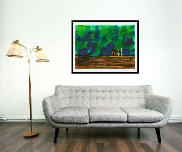 Original Landscape Colourful / Colorful Modern Contemporary Acrylic and Ink Painting Artwork - On The Plain 1 - Emerald Skies - Vera Vera On The Wall - Vera Blagev