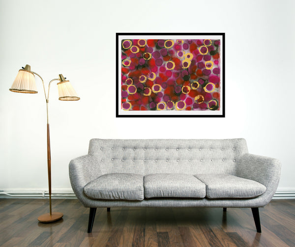 Original Abstract Colourful / Colorful Modern Contemporary Acrylic and Ink Painting Artwork - Lustre 1 - Burmese Ruby and Rhodolite Garnet - Vera Vera On The Wall - Vera Blagev