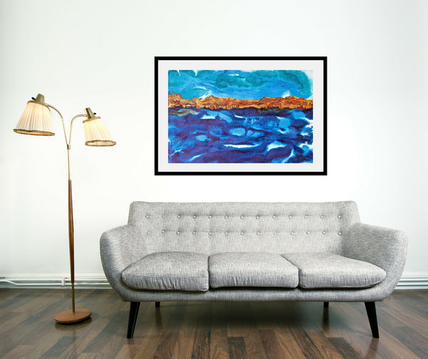 Original Seascape Landscape Colourful / Colorful Modern Contemporary Acrylic and Ink Painting Artwork - Seascape - Bright Sky - Vera Vera On The Wall - Vera Blagev