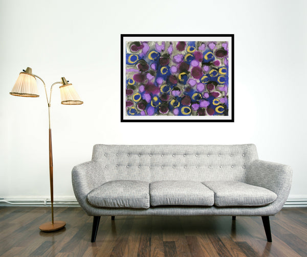 Original Abstract Colourful / Colorful Modern Contemporary Acrylic and Ink Painting Artwork - Lustre 2 - Amethyst and Blue Sapphire - Vera Vera On The Wall - Vera Blagev