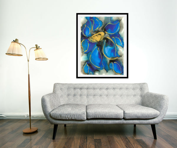 Original Floral Flower Colourful / Colorful Modern Contemporary Acrylic and Ink Painting Artwork - Polypetalous 3 - Cornflower Blues - Vera Vera On The Wall - Vera Blagev