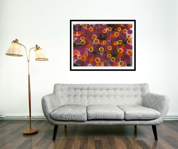 Original Abstract Colourful / Colorful Modern Contemporary Acrylic and Ink Painting Artwork - Lustre 3 - Garnet and Songea Sapphire - Vera Vera On The Wall  - Vera Blagev