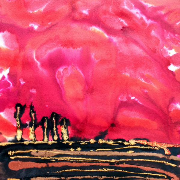 Red Sunset Abstract Landscape Painting