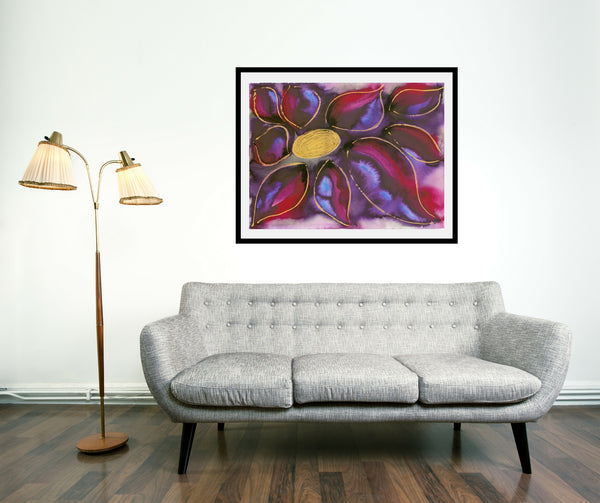 Original Floral Flower Colourful / Colorful Modern Contemporary Acrylic and Ink Painting Artwork - Polypetalous 4 - Purple Rainbow - Vera Vera On The Wall - Vera Blagev