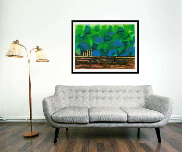 Original Landscape Colourful / Colorful Modern Contemporary Acrylic and Ink Painting Artwork - On The Plain 4 - Peridot Dreams - Vera Vera On The Wall - Vera Blagev